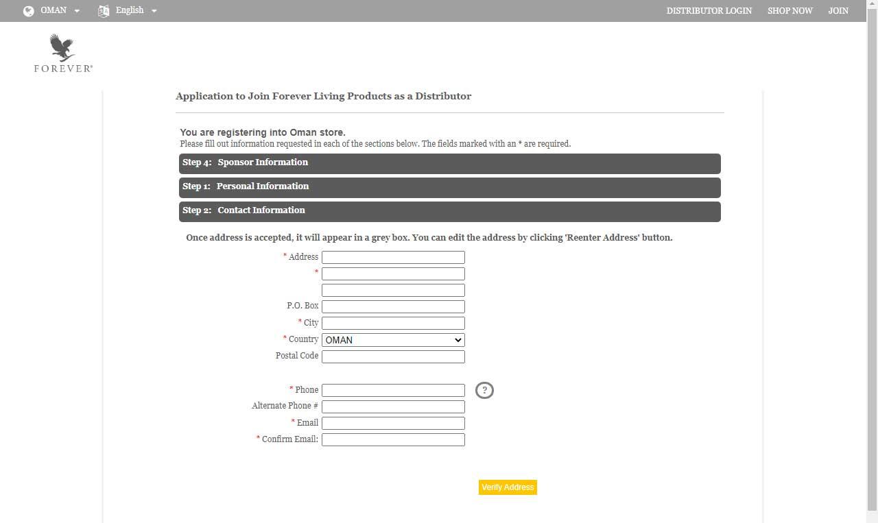 تسجيل عضوية في شركة فوريفر عمان