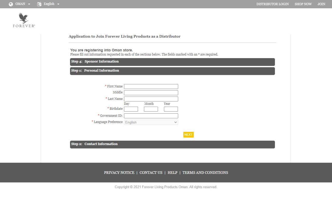 تسجيل عضوية في فوريفر
